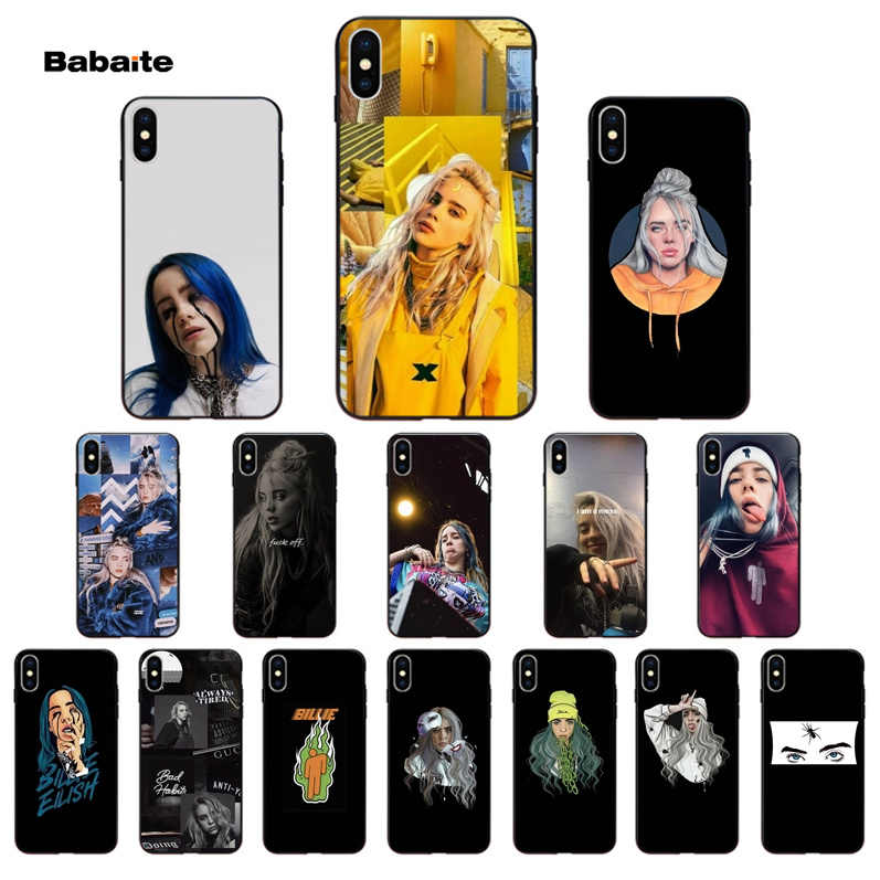 Babaite Billie eilish arc-en-ciel blohsh Ocean Eyes noir couverture de téléphone souple pour iPhone X XS MAX 6 6s 7 7plus 8 8Plus 5 5S SE XR