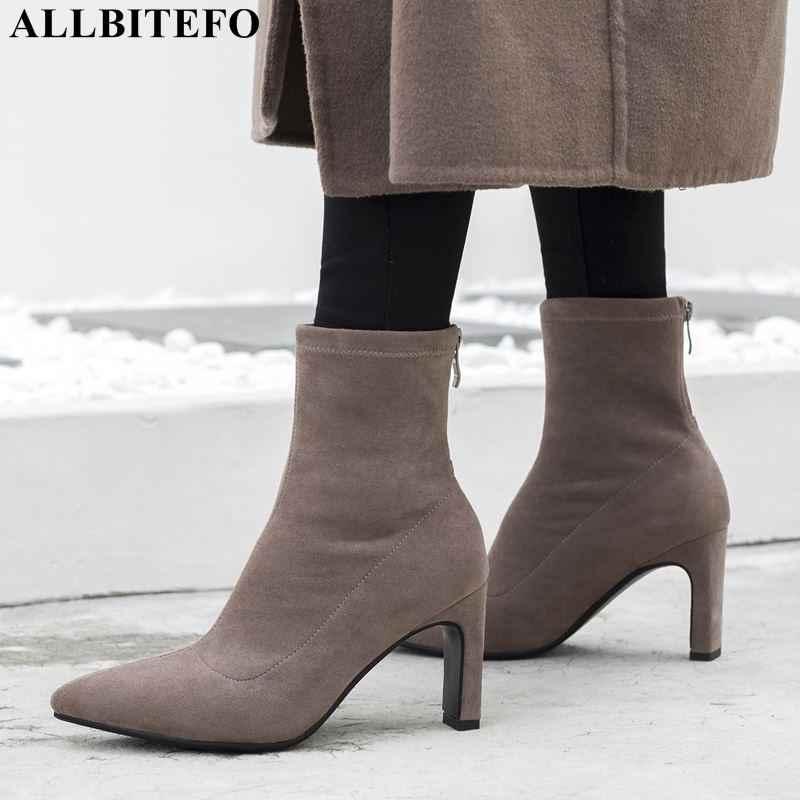 ALLBITEFO moda seksi yüksek topuklu parti kadın çizmeler akın sivri burun yüksek topuklu kadın ayakkabıları sonbahar yarım çizmeler kadınlar için