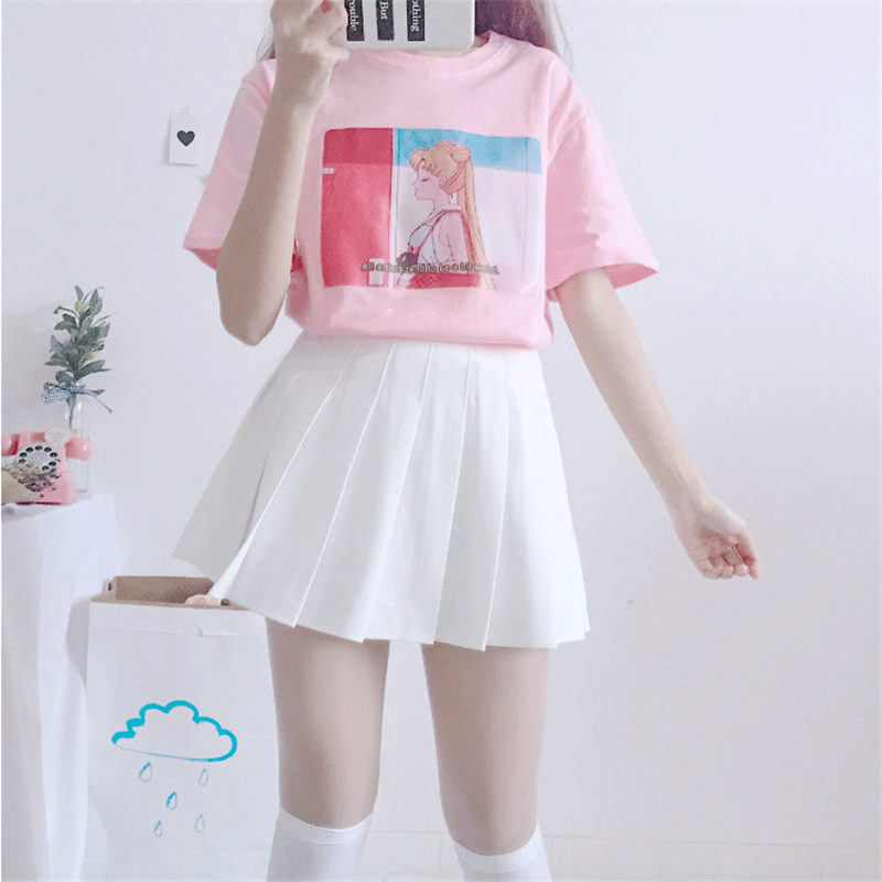 NiceMix 2019 Summer Harajuku Tops Women Print Sailor Moon Kawaii T Shirt Women Loose Short Sleeve Plus Size Tee Shirt Femme in T Shirts from Women 39 s Clothing