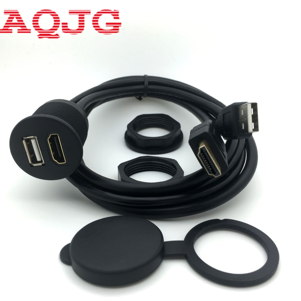 10pcs x 3ft Car USB HDMI AUX Extension Panel Flush Mount Cable For Car, Boat and Motorcycle car dashboard mounting panel installation usb extension adapter m f cable lead k400y dropship