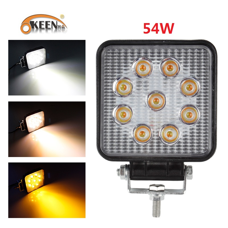 OKEEN White Yellow Car LED Work Light Bar 54W Flood Spot Combo Beam LED Spotlight 12V 24V For Jeep ATV UAZ SUV 4WD Truck Tractor