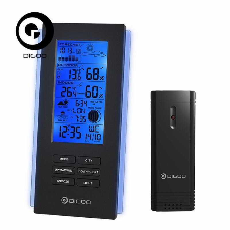 Digoo DG-TH6699 Wireless Thermometer Hygrometer Weather Station Barometer Forecast Thermometer USB Outdoor Sensor Clock european style dark gray 22 5cm 3 in 1 thermometer hygrometer barometer weather station
