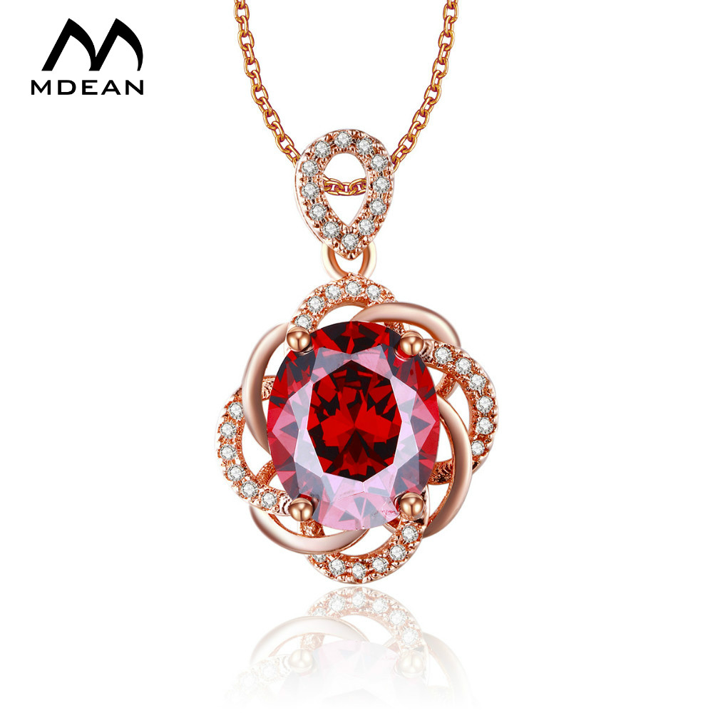 MDEAN Rose Gold Color Necklace Vintage Red Jewelry AAA ...
