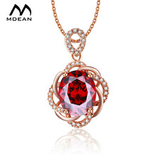 MDEAN Rose Gold Color Necklace Vintage Red  Jewelry AAA Zircon Jewelry Fashion Wedding Luxury Pendants for Women MSN010