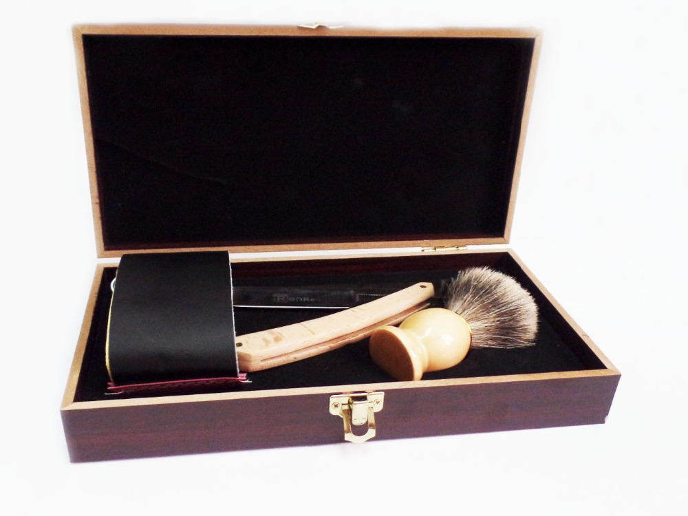 ФОТО Straight Razor Shaving Knife Brush and Leather Strop Wood Handle Box Kit