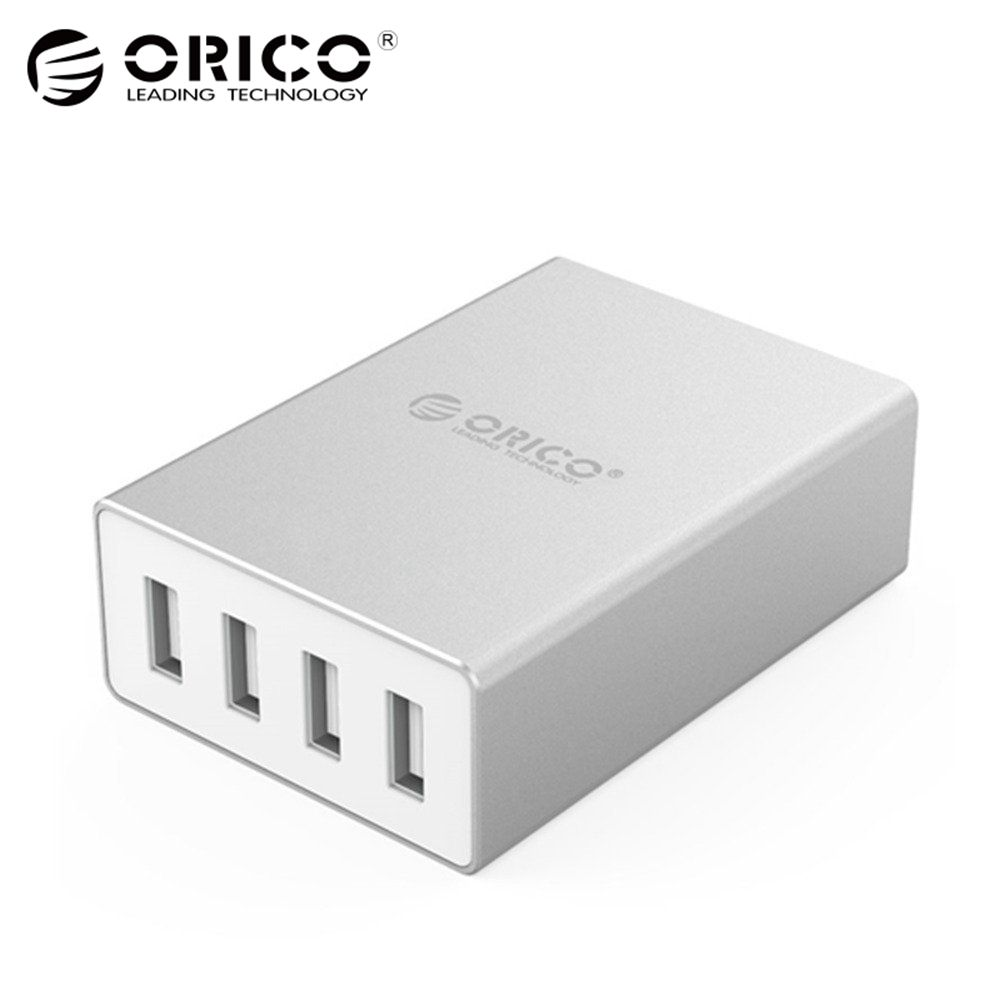 ORICO Aluminum 4 Ports Smart Phone Charger 5V6.0A30W Output for iPhone Tablet Xiaomi Red HTC SONY - Silver