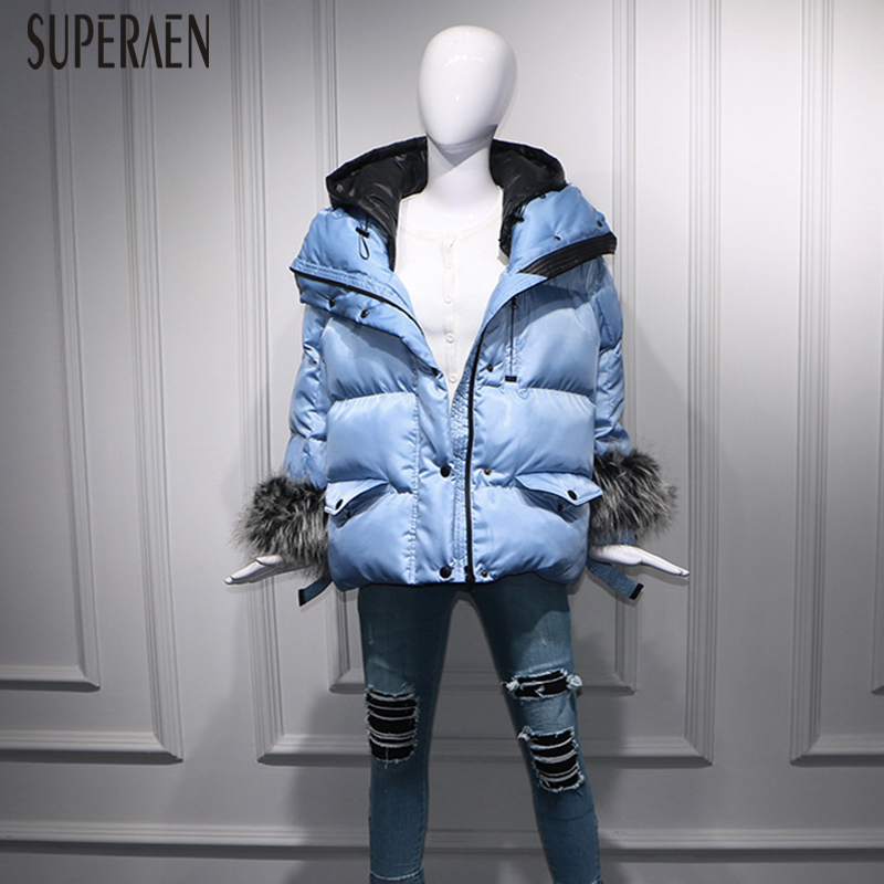 SuperAen Solid Color Casual Fashion   Parkas   Coat Hooded Cotton Wild Fashion Thick   Parkas   Coat Winter New 2018 Women Colothing