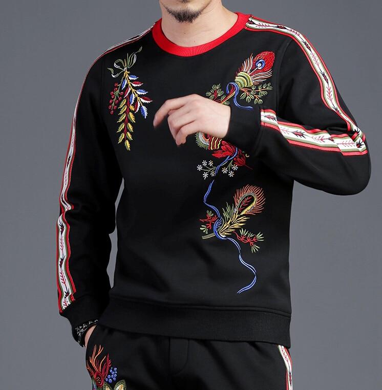 Fashion Color Block Tracksuit For Men Two Piece Set Men's Sportwear Mens Sports Suits Sweatshirt 2019