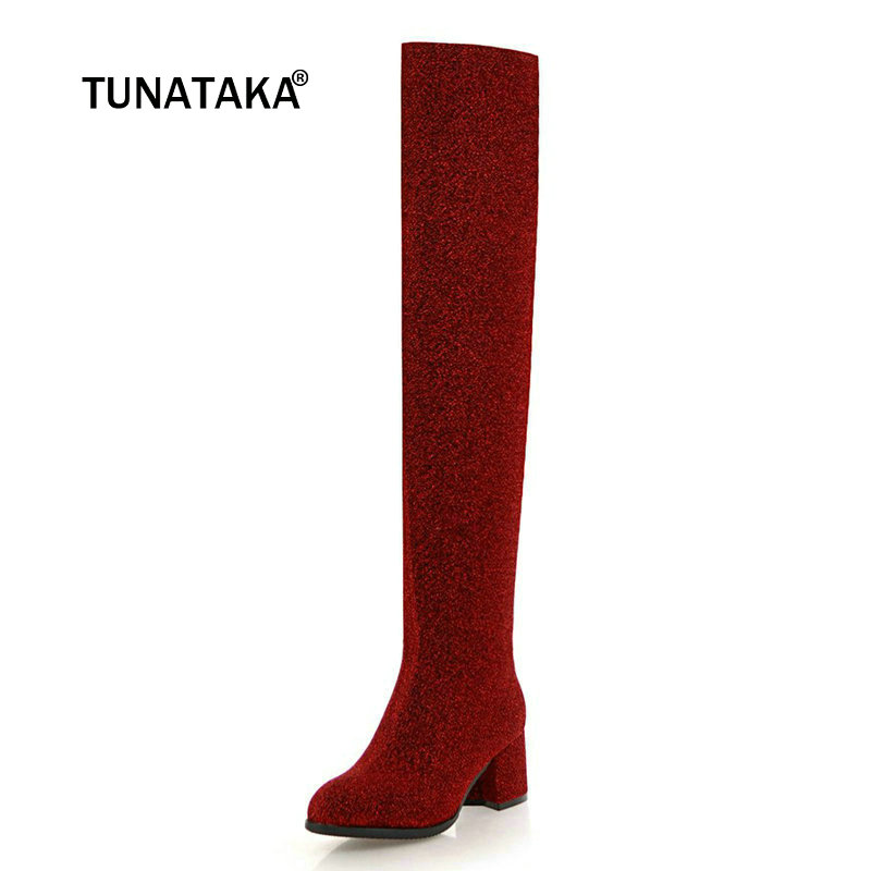Ladies Sequined Cloth Comfort Square Heel Knee High Boots Fashion Slip On Round Toe Winter Warm Women Shoes Black Red Silver цены