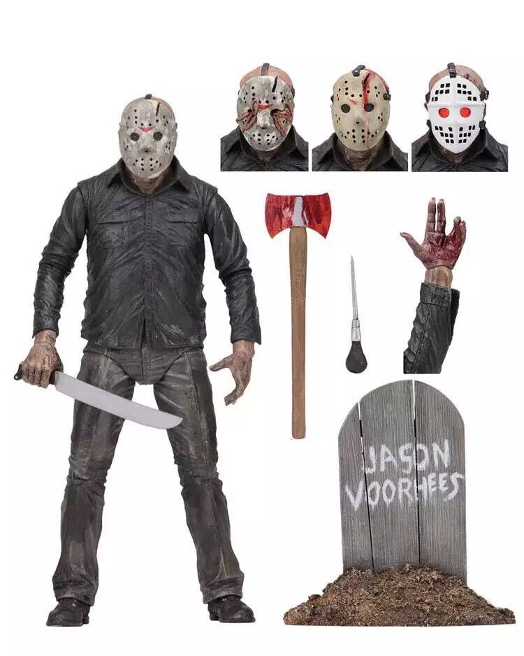 NECA Black Friday 13th 1980 Jason Action Figures Killer Deluxe Edition Joint Model Toys 26cm single the horror theme movie the walking dead mask hunter black friday jason scream killer building blocks toys for children