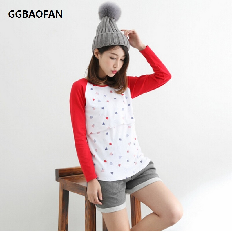 GGBAOFAN Maternity Nursing Tops Clothing for Pregnant women Warm Clothes Long-sleeved Breast Feeding T-shirts blouses