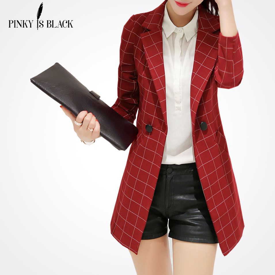 Pinky Is BlackFemale blazer 2017 spring and autumn new blazer women jacket slim medium long plaid long sleeve casual suit blazer