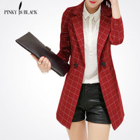 Pinky Is BlackFemale blazer 2017 spring and autumn new blazer women jacket slim medium long plaid long sleeve casual suit blazer