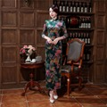 Free Shipping Woman's Long Cheongsam Qipao Traditional Chinese Dress  3/4 Sleeve Faux Velvet Chi Pao for sale chinese Cheongsam