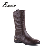 Bacia Embossed Genuine Leather Mid Culf Boots Low Heel Women Autumn Shoes With Short Plush Inside
