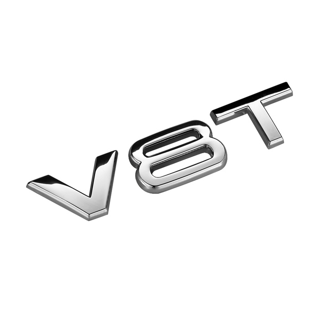 RelaxToday Car 3D Metal Displacement Sticker V6T VT8 Car Trunk Emblems Badge Side Fender Decal Stickers,for Audi A4 A6 A7 A8 Q3 Q5 Q7 S7
