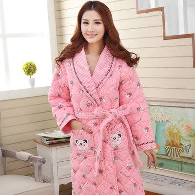 8d1569b4fc Winter Thick Women Robes Cotton Plus Size 4XL Thermal Bathrobe Cartoon Long  Sleepwear Ladied Homewear Belt