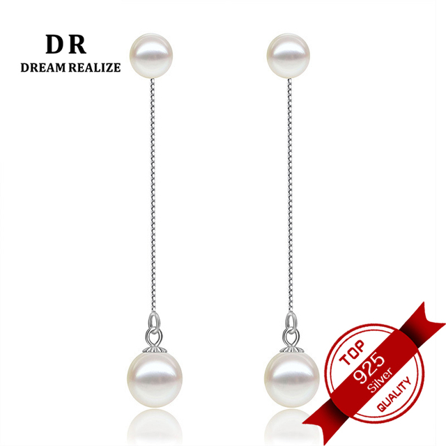 Exquisite Natural Pearl Long Stud Earrings for Women 925 Sterling Silver Women's