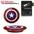 For Samsung Galaxy Note 2 3 4 Captain America Kit Qi Wireless Charger Pad wtih Qi Wireless Charger Receiver Adapter Set