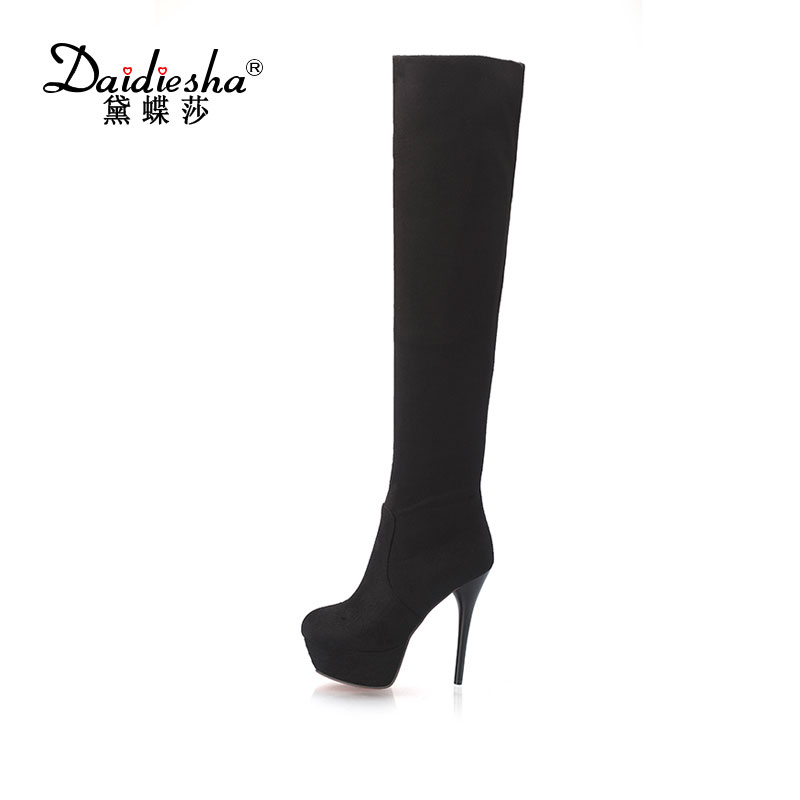 Daidiesha 2017 Faux Suede Slim Boots Sexy over the knee high women snow boots womens fashion winter thigh high fur boots shoes