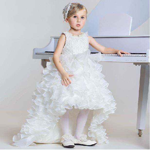 0dd008e508854 2019 Short Front Long Back Flower Girl Dress White Girl Party Formal  Vestidos 3 4 6 8 10 12 14 Years Girls Clothes SKF154002