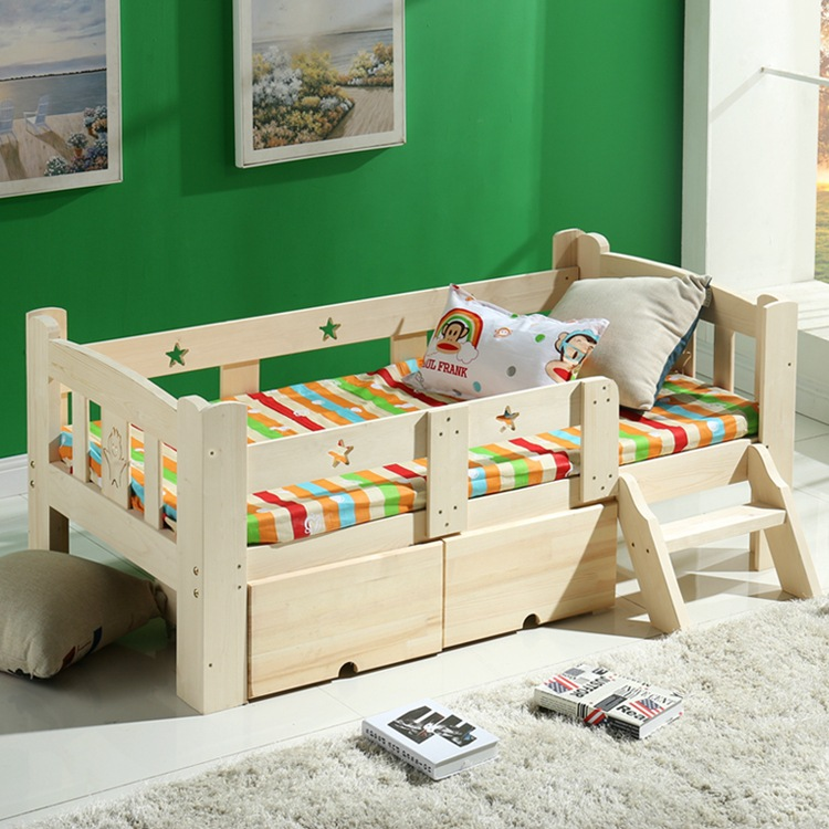 Modern Fashion Solid Wood Children Bed Widen Lengthen Baby Pine