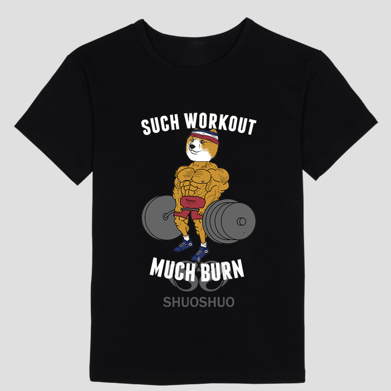 THE CUTE DOG DOGE Mens and womens short sleeve T-shirt SUCH WORKOUT MUCH BURN