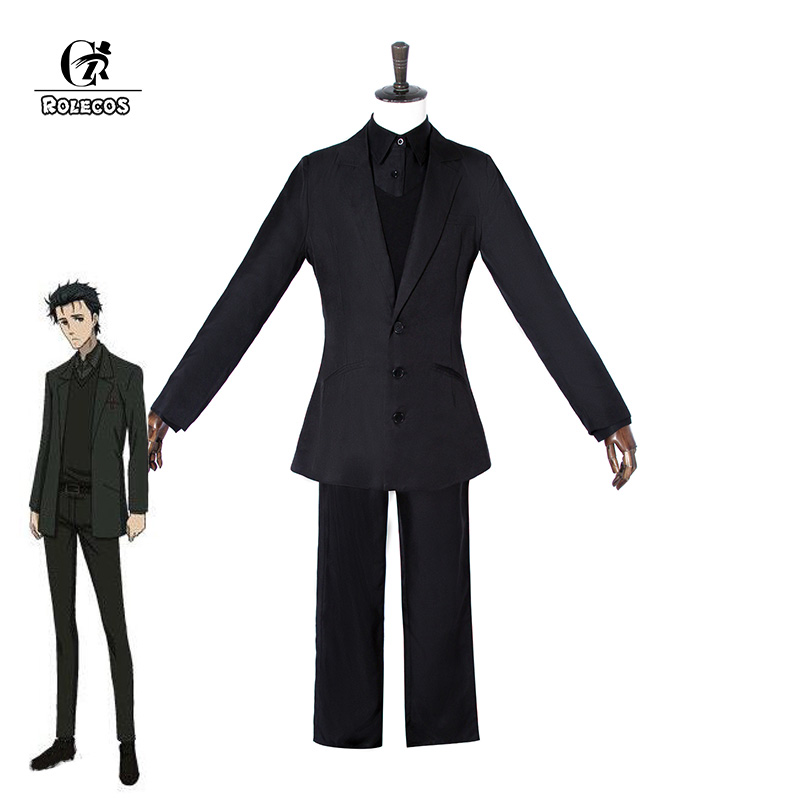 ROLECOS Game Anime Steins;Gate Cosplay Costumes Okabe Rintarou Hooin Kyoma Cosplay Costume Steins;Gate 0 Black Suit Game Cosplay