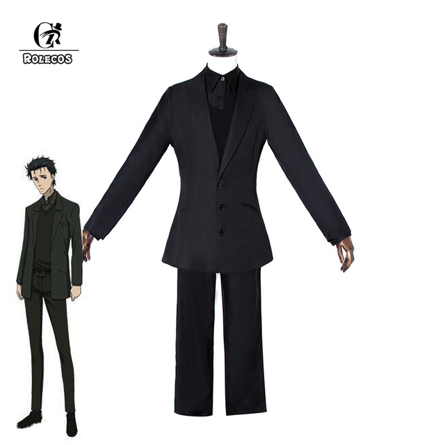 ROLECOS Game Anime Steins Gate Cosplay Costumes Okabe Rintarou Hooin Kyoma  Cosplay Costume Steins Gate 0 Black Suit Game Cosplay 16b408853f9e