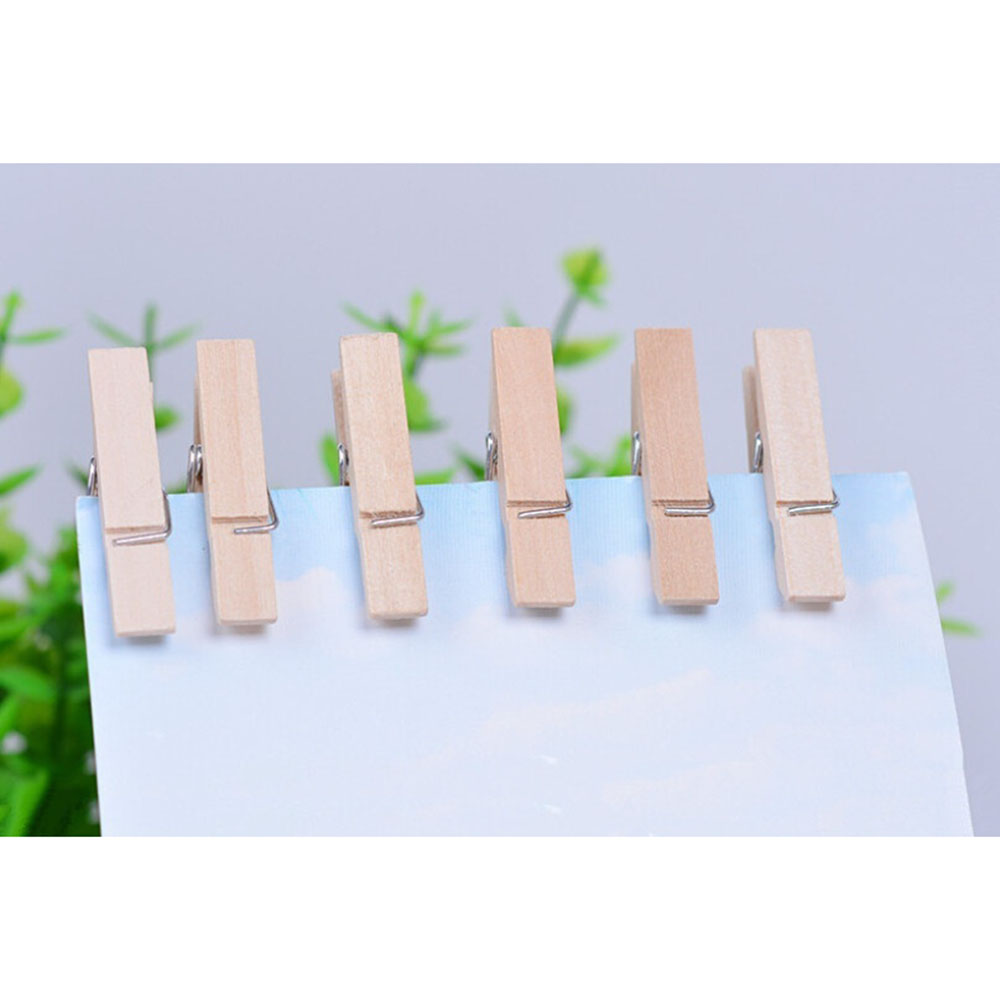 20 PCS/box Hot Sale Small Mine Size 25mm Mini Natural Wooden Clips For Photo Clips Clothespin Craft Decoration Clips Pegs