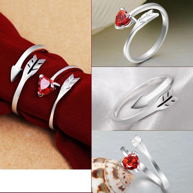 New Charming Jewelry Accessories Cupid Red Heart Shaped Rhinestone Inlaid Lovers Rings Wedding Engagement Rings Drop Shipping
