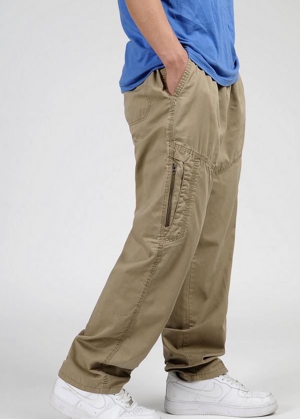 Новинка весна лето размера плюс мужские брюки карго хлопок свободные брюки мужские брюки 3XL 4XL 5XL 6XL - Цвет: Цвет: желтый