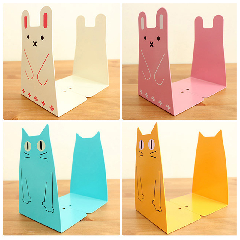 New Creative cute cartoon Cat Rabbit book stand Metal Bookends School  Student Childres's gift 902(