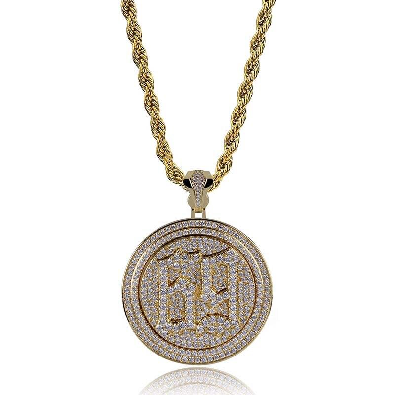 Zircon cubique 6ix9ine pendentif collier hommes Hip Hop CZ Micro Pave disque collier or argent couleur bijoux partie livraison directe