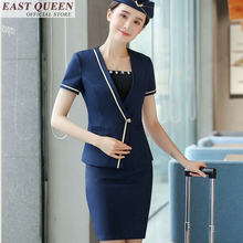 Flight attendant uniform ladies elegant flight stewardess uniform female business office social dress for special occasion FF435(China)