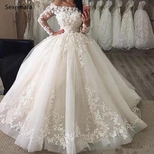 SexeMara White Ivory Wedding Dress Long Sleeves Bridal Gown