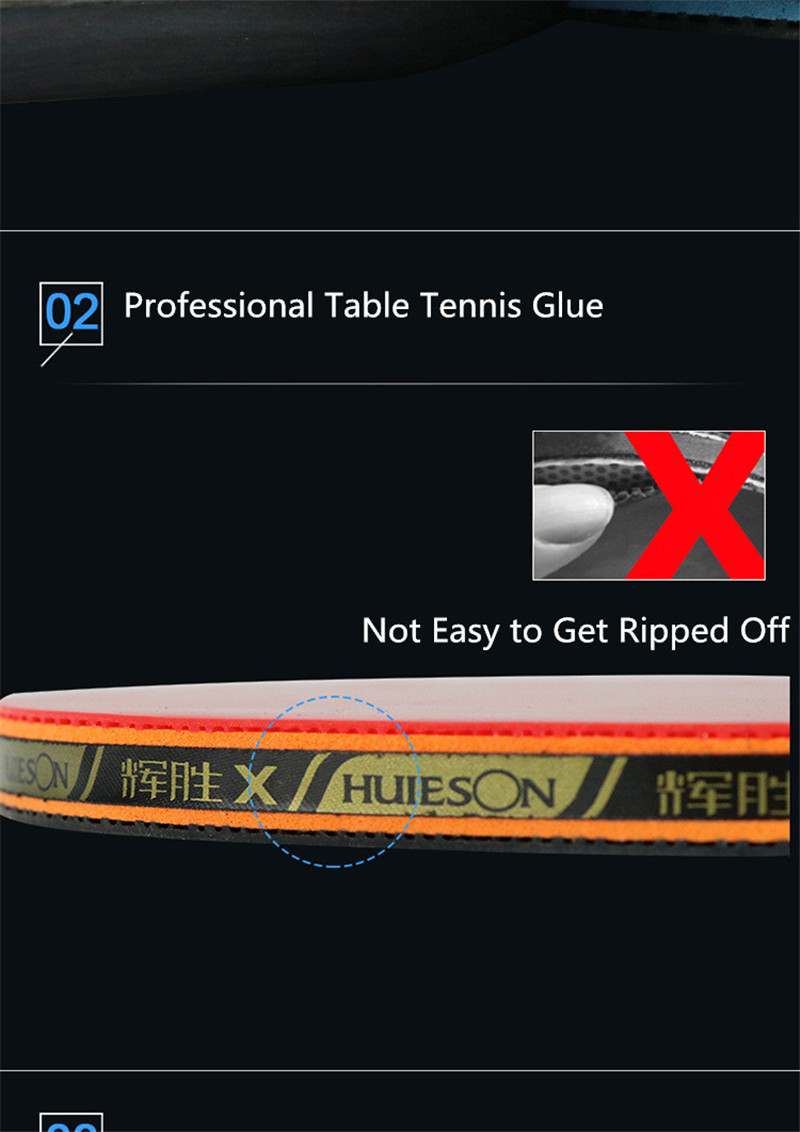 Huieson 7 Ply Pure Wood Table Tennis Racket Double Face Pimples-in Sticky RubberPong Paddle Bat for New Learners (4)