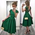 Nueva Llegada Vestidos de Cóctel Verde 2016 Cap Manga Backless Longitud de La Rodilla Elegante Vestido de Fiesta Más El Tamaño último vestido de diseño
