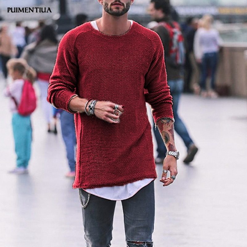 Puimentiua 2019 Men Sweater Autumn Winter Knitted Solid Simply Style Pullover Casual Loose Round Neck Sweater Jumper Males