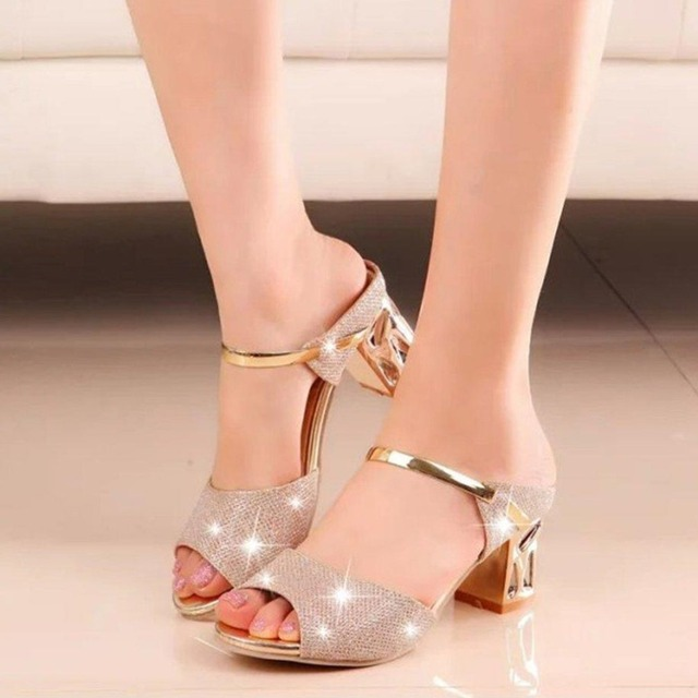 6db697cbc930d1 2018 Fashion Ladies Summer Sandals Women Gold Silver Breathable Comfort Shopping  Shoes Woman Heel Sandals zapatos de mujer