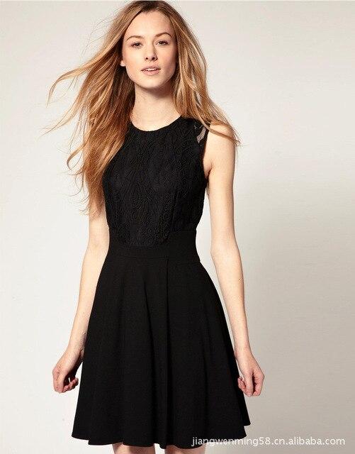 Womens Sleeveless Basic Black Dress Lace Skirt In Dresses From