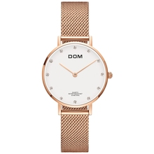 Watch Women DOM Top Brand Luxury Quartz Watch Casual Quartz-watch Leather Mesh Strap Ultra Thin Clock Relog G-36GL-7M women s watches dom brand luxury casual leather quartz watch golden clock sapphire crystal waterproof relogio faminino g 86gl 7m