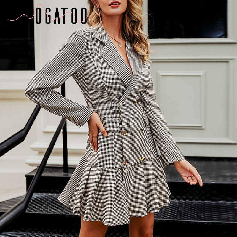 Affogatoo Elegant V Neck Ruffle Office Ladies Autumn Plaid Short Dress Women Vintage Double Breasted Pleated Party Blazer Dress