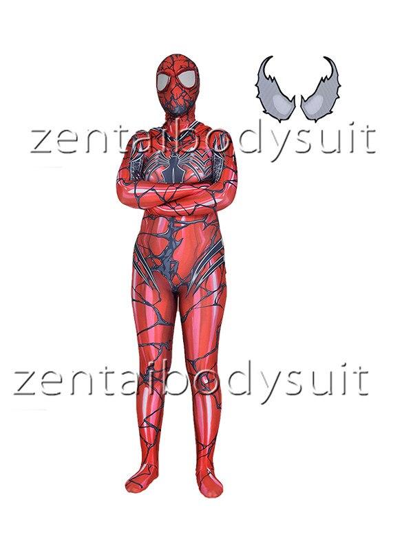 3D Print red Venom Spiderman Superhero Spandex Lycra Zentai Bodysuit Halloween Cosplay Party suit free delivery