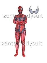 3D Print red Venom Spiderman Superhero Spandex Skin Zentai Bodysuit Halloween Cosplay Party suit free delivery