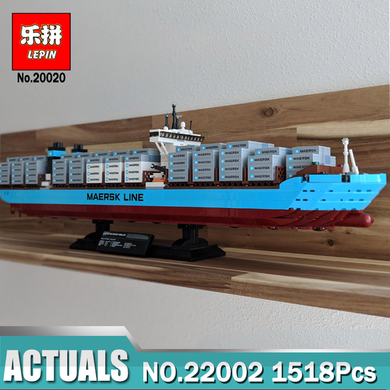 Lepin 22002 1518Pcs Technic Series The Maersk Cargo Container Ship Set Educational Building Blocks Bricks Model Legoing 10241 lepin sets 22002 1518pcs technic series maersk cargo container ship model building kits blocks bricks educational toy gift 10241