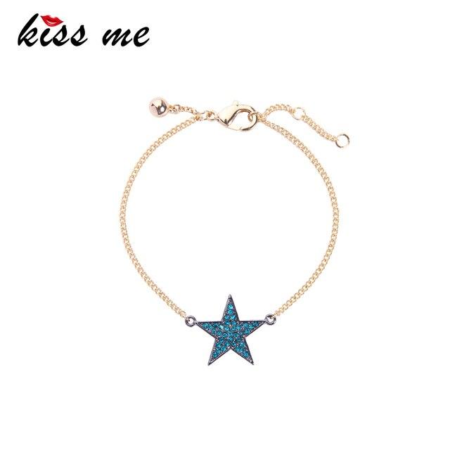 Kiss Me Chic Blue Clear Star Pentagram Charm Bracelet Female New Simple Bracelets For