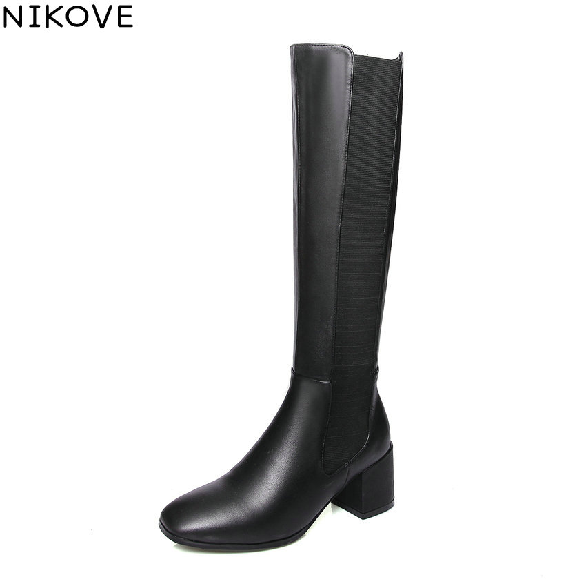NIKOVE 2019 Women Shoes Square Toe Short Plush Winter Boots Square High Heels Knee High Boots Slip on Autumn Shoes Size 34-39NIKOVE 2019 Women Shoes Square Toe Short Plush Winter Boots Square High Heels Knee High Boots Slip on Autumn Shoes Size 34-39