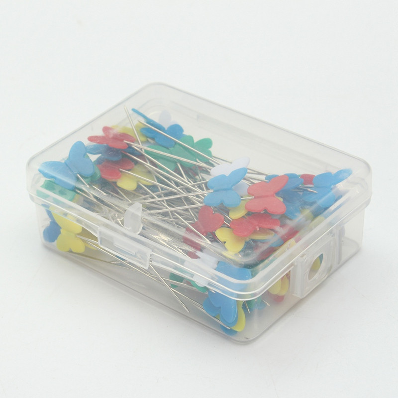 Overvalue 100Pcs Cute Butterfly Head Pins Patchwork Pins Needles Sewing Pin With Plastic Box Home Decor Crafts Pins DIY Tool craft
