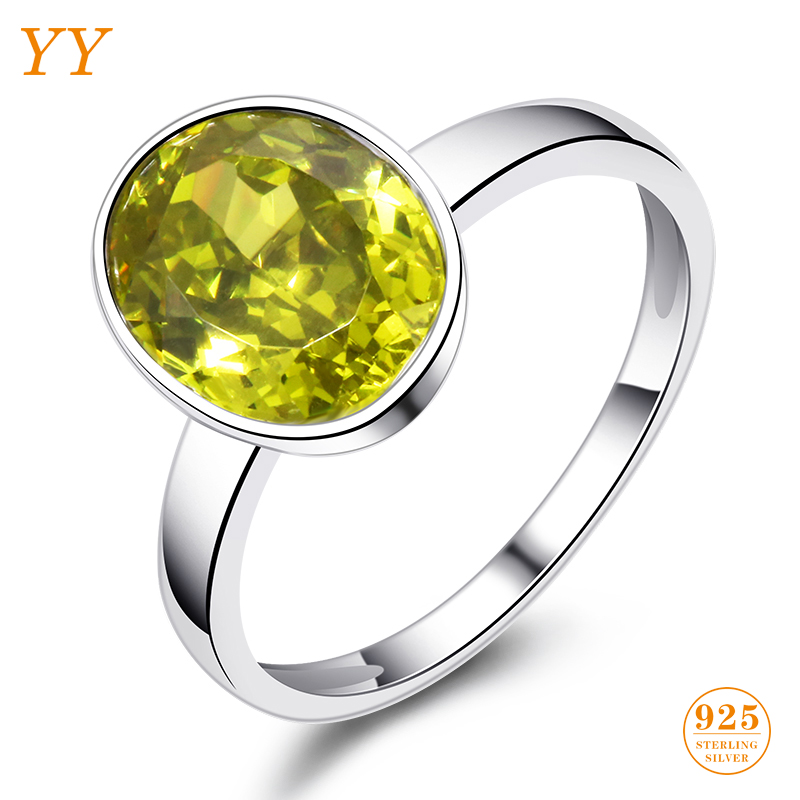 YY Fine Jewelry 925 Sterling Silver Shining Boutique Citrine Olive Yellow Vintage Trendy Fashion woman girl Party Gift Ring qq yy